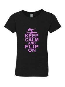 Big Girls Black Pink Keep Calm And Flip On Short Sleeve T-Shirt 7-16