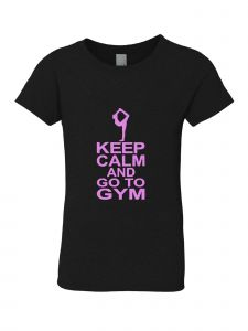 Big Girls Black Pink Keep Calm And Go To Gym T-Shirt 7-16