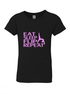 Big Girls Black Pink Eat Sleep Flip Repeat Short Sleeve T-Shirt 7-16