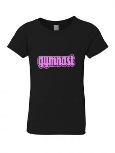 Little Girls Black Pink Gymnast Tee 3-6X