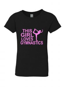 Big Girls Black Pink This Girl Loves Gymnastics T-Shirt 7-16