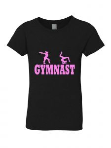 Little Girls Black Pink Crewneck Gymnast Short Sleeve T-Shirt 3-6X