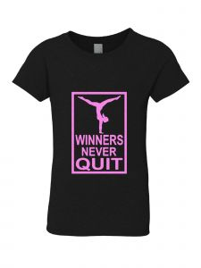 Little Girls Black Pink Winners Never Quit Short Sleeve T-Shirt 3-6X