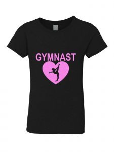Little Girls Black Pink Crewneck Gymnast Short Sleeve Tee 3-6X