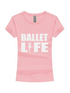 Little Girls Pink White Glitter Ballet Life Short Sleeve T-Shirt 3-6X