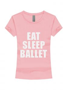 Little Girls Pink White Glitter Eat Sleep Ballet Short Sleeve T-Shirt 3-6X