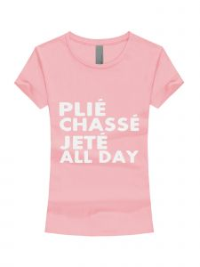 Big Girls Pink White Glitter Plie Chasse Jete Short Sleeve T-Shirt 7-16