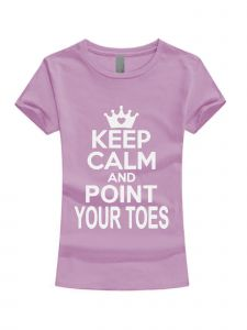 Girls Multi Color White Glitter Keep Calm And Point Your Toes T-Shirt 3-16