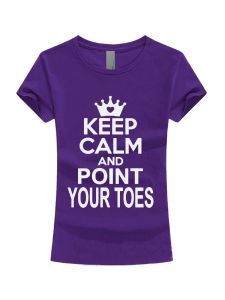 Big Girls Purple White Glitter Keep Calm And Point Your Toes T-Shirt 7-16