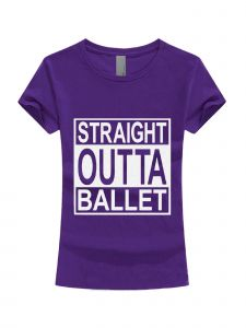 Little Girls Purple White Glitter Straight Outta Ballet T-Shirt 3-6X