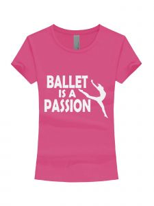 Big Girls Raspberry White Glitter Ballet Is A Passion T-Shirt 7-16