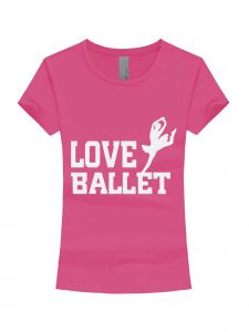 Little Girls Raspberry White Glitter Love Ballet Short Sleeve T-Shirt 3-6X