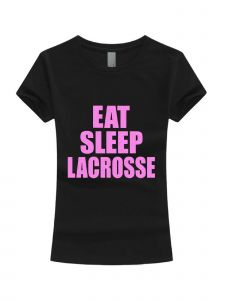 Big Girls Black Neon Pink Glitter Eat Sleep Lacrosse Short Sleeve T-Shirt 7-16