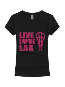 Big Girls Black Pink Glitter Live Love Lax Short Sleeve T-Shirt 7-16