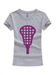 Little Girls Gray Purple Glitter Lacrosse Stick Short Sleeve T-Shirt 3-6X