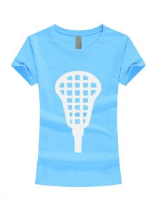 Girls Multi Color Glitter Lacrosse Stick Short Sleeve T-Shirt 3-16