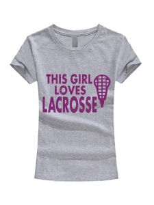Big Girls Gray Purple Glitter This Girl Loves Lacrosse T-Shirt 7-16