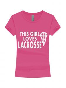 Little Girls Raspberry White Glitter This Girl Loves Lacrosse T-Shirt 3-6X