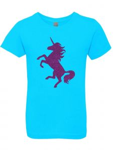 3 Pearls Designs Big Girls Tahiti Blue Purple Glitter Unicorn Casual Tee 8-16