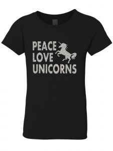 3 Pearls Designs Big Girls Black Silver Glitter Peace Love Unicorns Tee 8-16