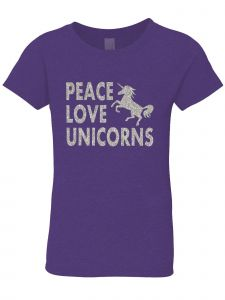 3 Pearls Designs Big Girls Purple Silver Glitter Peace Love Unicorns Tee 8-16