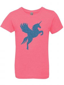 3 Pearls Designs Little Girls Hot Pink Aqua Glitter Wing Unicorn Tee 3-6X