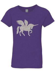 3 Pearls Designs Big Girls Purple Silver Glitter Wing Unicorn Tee 8-16