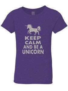 3 Pearls Designs Big Girls Purple Silver Glitter Keep Calm Unicorn Tee 8-16