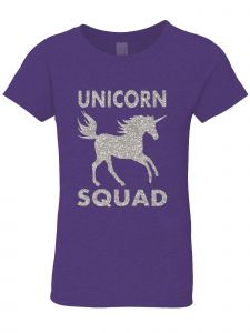 3 Pearls Designs Little Girls Purple Silver Glitter Unicorn Squad Tee 3-6X