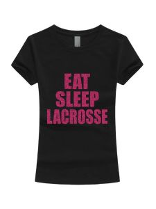 Girls Multi Color Glitter Eat Sleep Lacrosse Short Sleeve T-Shirt 3-16