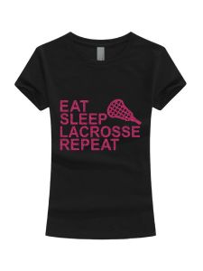 Girls Multi Color Glitter Eat Sleep Lacrosse Repeat T-Shirt 3-16