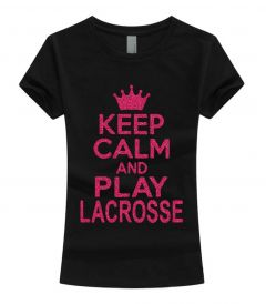 Girls Black Multi Color Glitter Keep Calm And Play Lacrosse T-Shirt 3-16