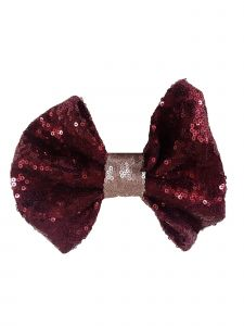 Girls Burgundy Sequin Bow Hair Clippie