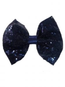 Girls Navy Sequin Bow Hair Clippie