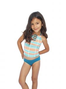 Azul Little Girls Orange Stripe Running Lines Halter 2 Pc Tankini Swimsuit 4-6