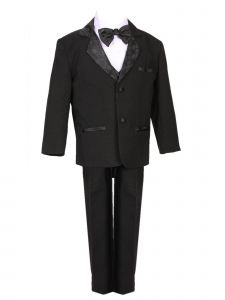 Rain Kids Baby Boys Black Diamond Pattern Special Occasion Tuxedo Set 6-24M