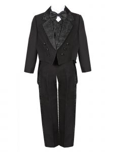 Rain Kids Big Boys Black Tail Jacket Jacquard Trim Festive Tuxedo Set 8-20