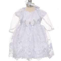 The Rain Kids Baby Girls White Short Sleeve Organza Cape Baptism Dress 0-24M