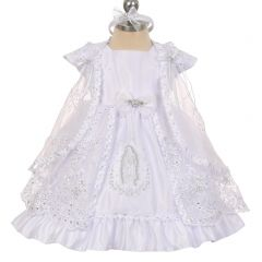 The Rain Kids Baby Girls White Virgin Mary Embroidery Cape Baptism Dress 0-24M
