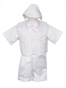 Rain Kids Little Boys White 4 pc Diamond Pattern Vest Hat Baptism Outfit 2-4T
