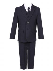 Rain Kids Big Boys Navy Slim Fit Fancy 5 pc Special Occasion Suit Set 8-20