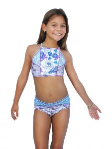 Azul Big Girls Purple Reign Floral Print High Top 2 Pc Bikini Swimsuit 7-16