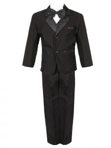 Rain Kids Little Boys Black Jacquard Detailing Special Occasion Tuxedo Set 2T-7