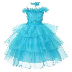 The Rain Kids Little Girls Turquoise Organza Off Shoulder Flower Girl Dress 2-4T