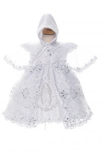 Rain Kids Baby Girls White Rhinestone Lace Virgin Mary Baptism Dress NB-24M