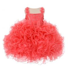 RainKids Little Girls Coral Beaded Cascade Ruffle Organza Pageant Dress 2-6