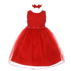 Rain Kids Little Girls Red Floral Trim Organza Overlay Flower Girl Dress 2-4T