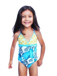 Azul Big Girls Turquoise Endless Summer Tropical One Piece Swimsuit 7-14