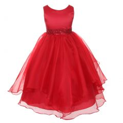 Chic Baby Little Girls Red Beaded Waist Overlaid Flower Girl Dress 2-6