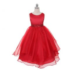 Chic Baby Red Layered Beaded Flower Girl Christmas Dress Girls 4-12